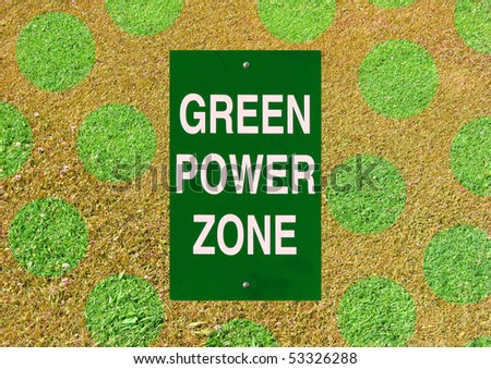 green power sign with polka dot grass