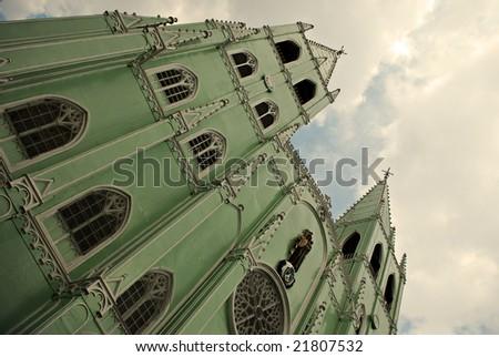Green Prefabricated Church - stock photo