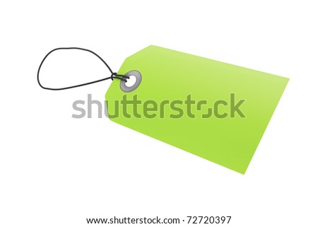 Green price tag with clipping path - stock photo