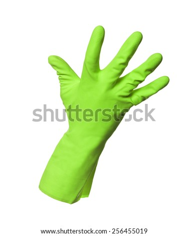 Green protection glove isolated on white background - stock photo