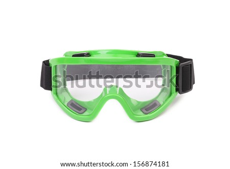 Green protective glasses. Isolated on a white background.