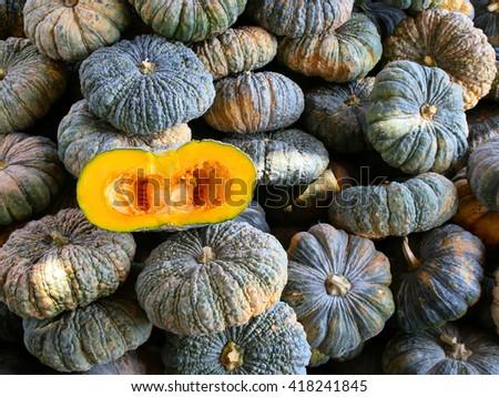 Green Pumpkin at Market - stock photo