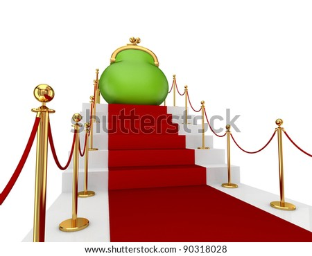 Green purse on a red staircase.Isolated on white background.3d rendered. - stock photo