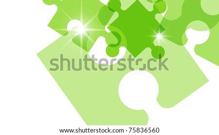 Green puzzle background - stock photo