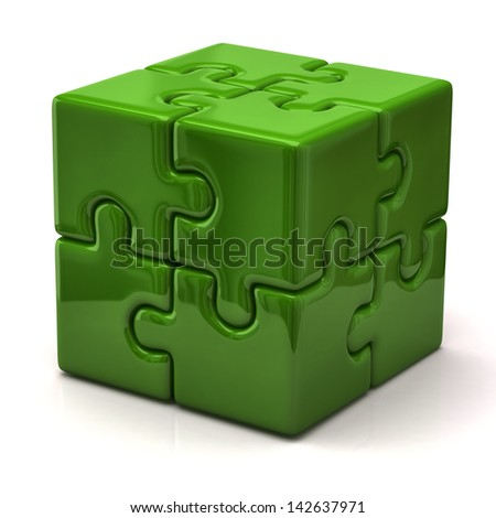 Green puzzle cube - stock photo