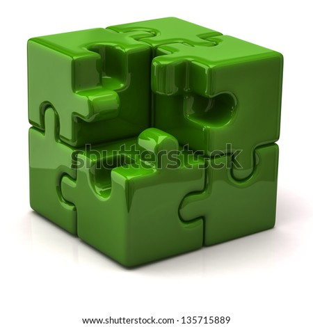 Green puzzle cube without one piece - stock photo