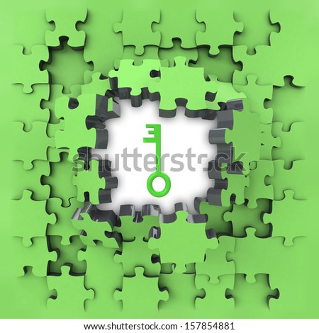 green puzzle jigsaw with metallic key revelation illustration