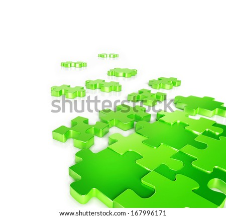 Green Puzzle Pieces - stock photo