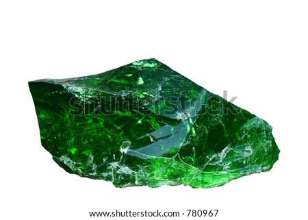 Green quartz, vitreous silica, SiO2, rock. Isolated.  Background is pure white. Easily changeable to any color. - stock photo