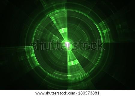 Green radar screen in digital form - stock photo