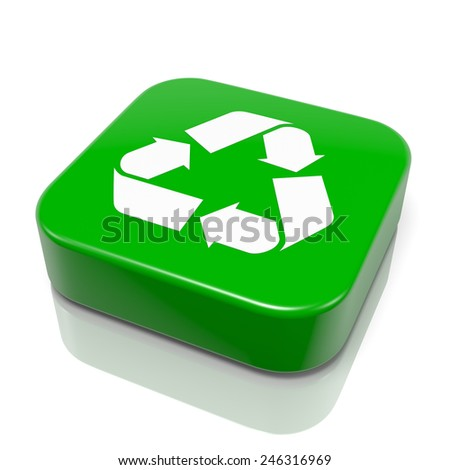 Green Recycle App Icon 3D Illustration on White Background - stock photo