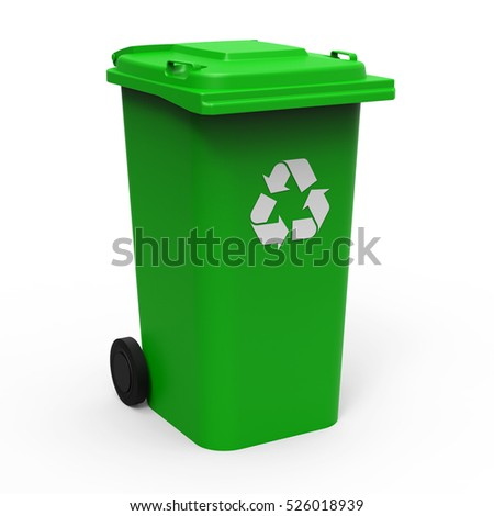 Green recycle bin isolated on white background 3D rendering