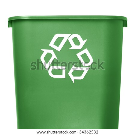 green recycle container on white background - stock photo