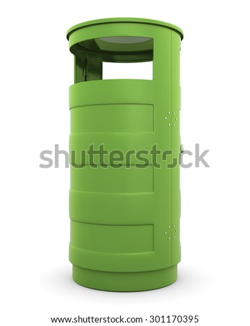 green recycle garbage trash can on white background. 3d - stock photo