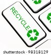 Green recycle keyboard key - stock vector