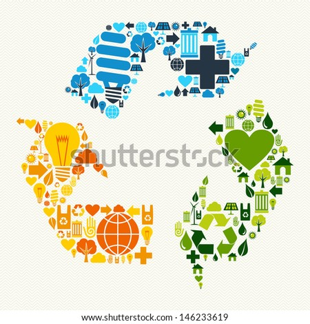 Green recycle plus love eco friendly set. - stock photo