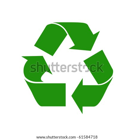 Green recycle sign - stock photo