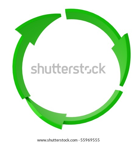 green recycle symbol isolated on white - stock photo