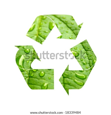 Green recycle symbol  made from green leaf with drops of water.Clipping path included. - stock photo