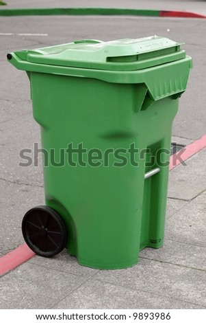 green recycling container - stock photo