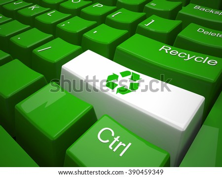 Green recycling on modern  keyboard