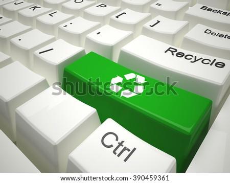 Green recycling on modern  keyboard - stock photo