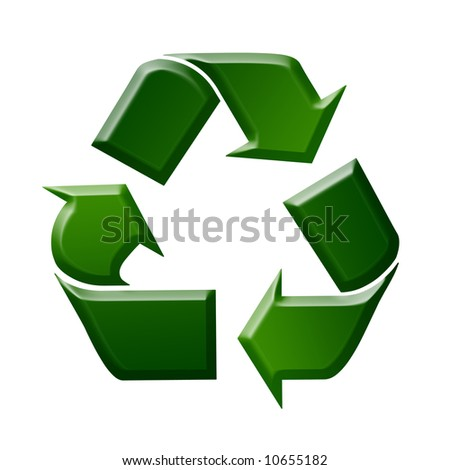 Green Recycling Sign / Symbol Illustration, White Background - stock photo