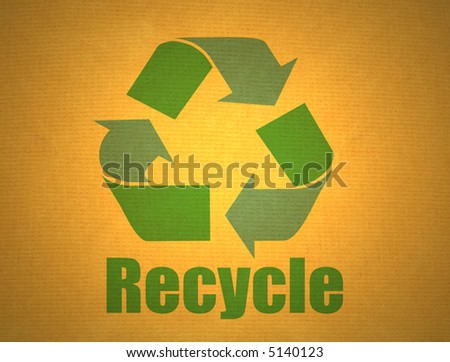 green recycling symbol on yellow cardboard background - stock photo