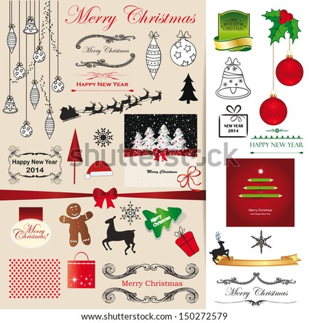 Green, red and black christmas card elements. - stock photo