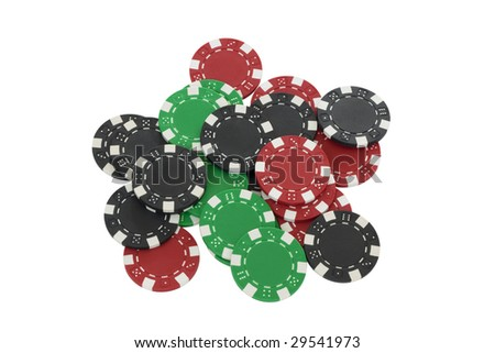Green, red and black poker chips isolated on white background