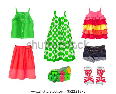 Green &  red collage of child girl clothes isolated.Fashion female kid clothing on white background.Summer set of wear & accessories.