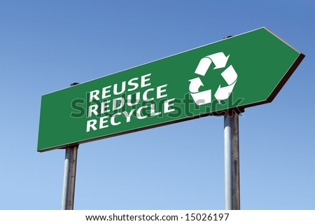 Green reduce-reuse-recycle directional roadsign over blue sky - stock photo