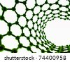 green reflective nanotube structure on white background - stock photo