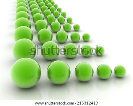 green reflective spheres - stock photo