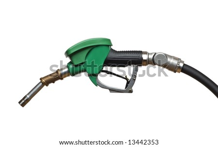 green refueling hose isolated on white close up - stock photo