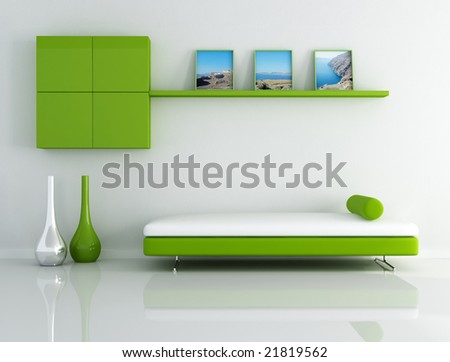 green relax room with landscape picture - stock photo