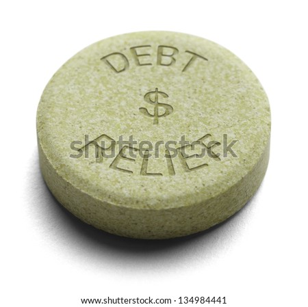 Green Relief Medicine for Debt isolated on a White Background. - stock photo