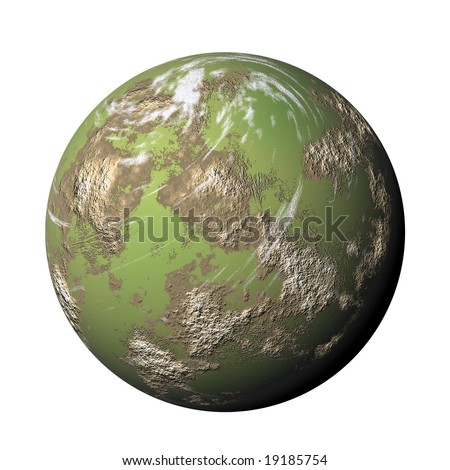 green render planet on white