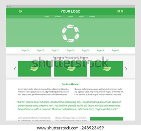 Green responsive website template. Modern homepage design. - stock photo