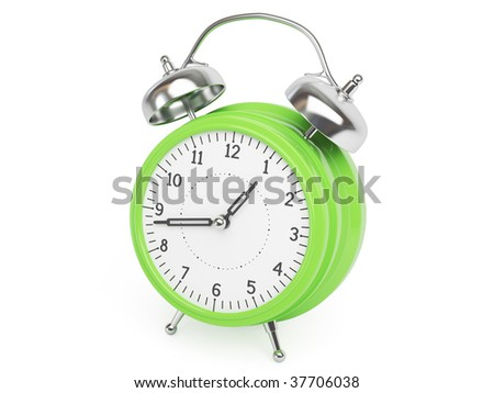 Green Retro Clock isolated on white Background