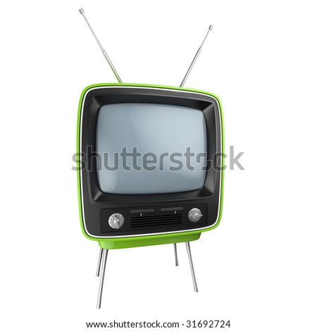 green retro style TV isolated on white. This image contains a clipping path