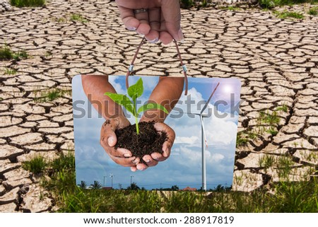 Green returns to nature,people, ecology, biology and environment concept,hand holding board and green tree - stock photo