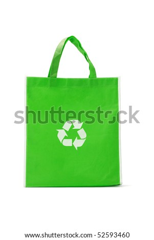 Green reusable shopping bag with recycle symbol on white - stock photo