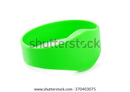 Green RFID Bracelet on isolated on a white background - stock photo