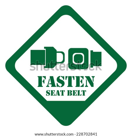 Green Rhombus Fasten Seat Belt Sign, Icon, Label or Sticker Isolated on White Background  - stock photo