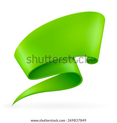 Green ribbon. Abstract scroll paper vector background. Design element. Ribbon banner. Isolated on a white background. Raster copy. - stock photo