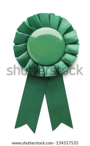 Green ribbon award badge isolated on white background. - stock photo