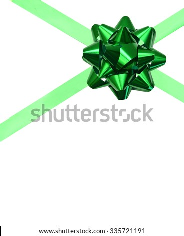 Green ribbon bow on white background