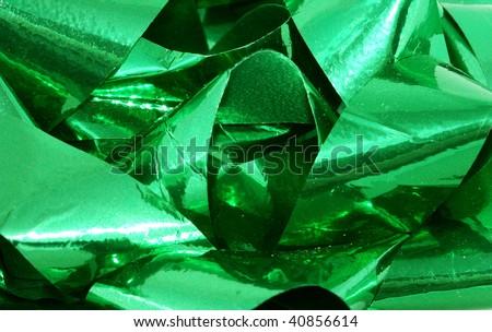 Green ribbon closeup - stock photo