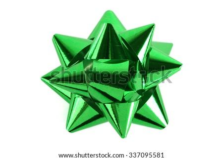 Green ribbon isolated on white background - stock photo
